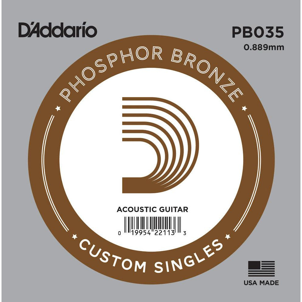 D'Addario PB035 Phosphor Bronze Wound Acoustic Guitar Single String, .035