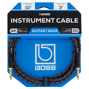 Boss BIC-10 10' Instrument Cable, Braided, Straight-Straight