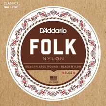 Load image into Gallery viewer, D'Addario EJ32 Folk Nylon Guitar Strings, Ball End, Silver Wound/Black Nylon Trebles