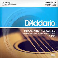 Load image into Gallery viewer, D'Addario EJ38 12-String Phosphor Bronze Acoustic Guitar Strings, Light, 10-47
