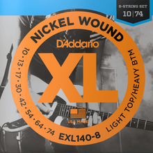Load image into Gallery viewer, D'Addario EXL140-8 8-String Nickel Wound Electric Guitar Strings, Light Top/Heavy Bottom, 10-74