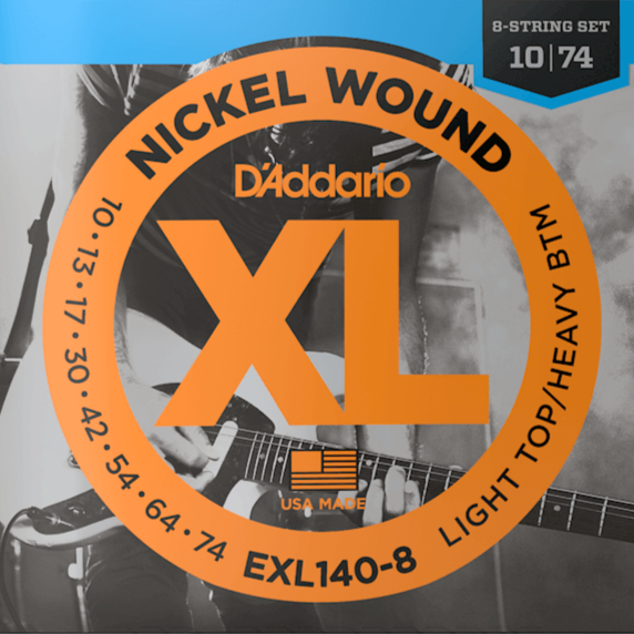 D'Addario EXL140-8 8-String Nickel Wound Electric Guitar Strings, Light Top/Heavy Bottom, 10-74