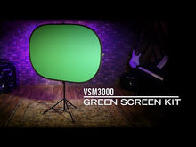 Load and play video in Gallery viewer, On Stage Stand VSM3000 Dual Sided Green/Blue Screen Kit