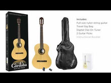 Load and play video in Gallery viewer, Cordoba CP100 Complete Acoustic Classical Guitar Package