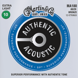 Martin MA180 12-String SP Authentic 80/20 Extra Light Guitar Strings, 10-47