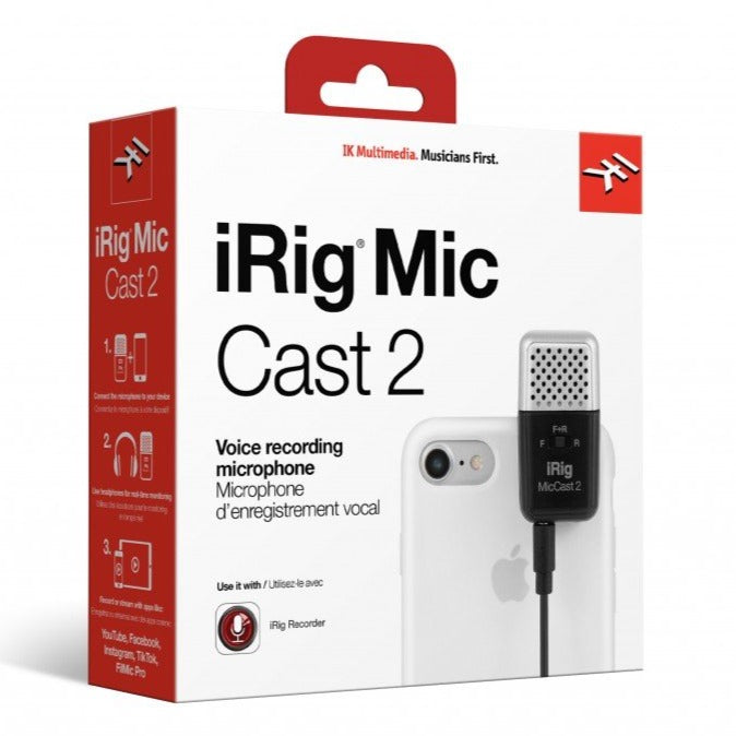 IK Multimedia IRIG-CAST-2 iRig Mic Cast 2 Podcasting Mic for Smartphones and Tablets