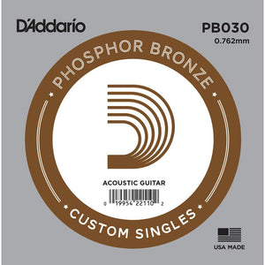 D'Addario PB030 Phosphor Bronze Wound Acoustic Guitar Single String, .030