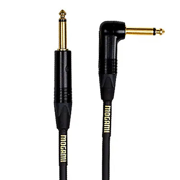 Mogami GOLDINST-10R Gold Instrument Right Angle Guitar Cable - 10 ft