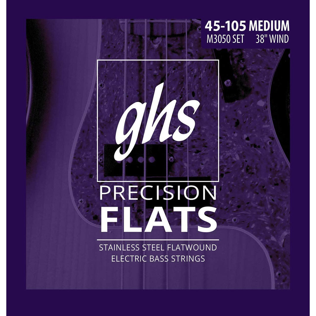 GHS M3050 Flat Wound Long Plus Bass Strings 45-105
