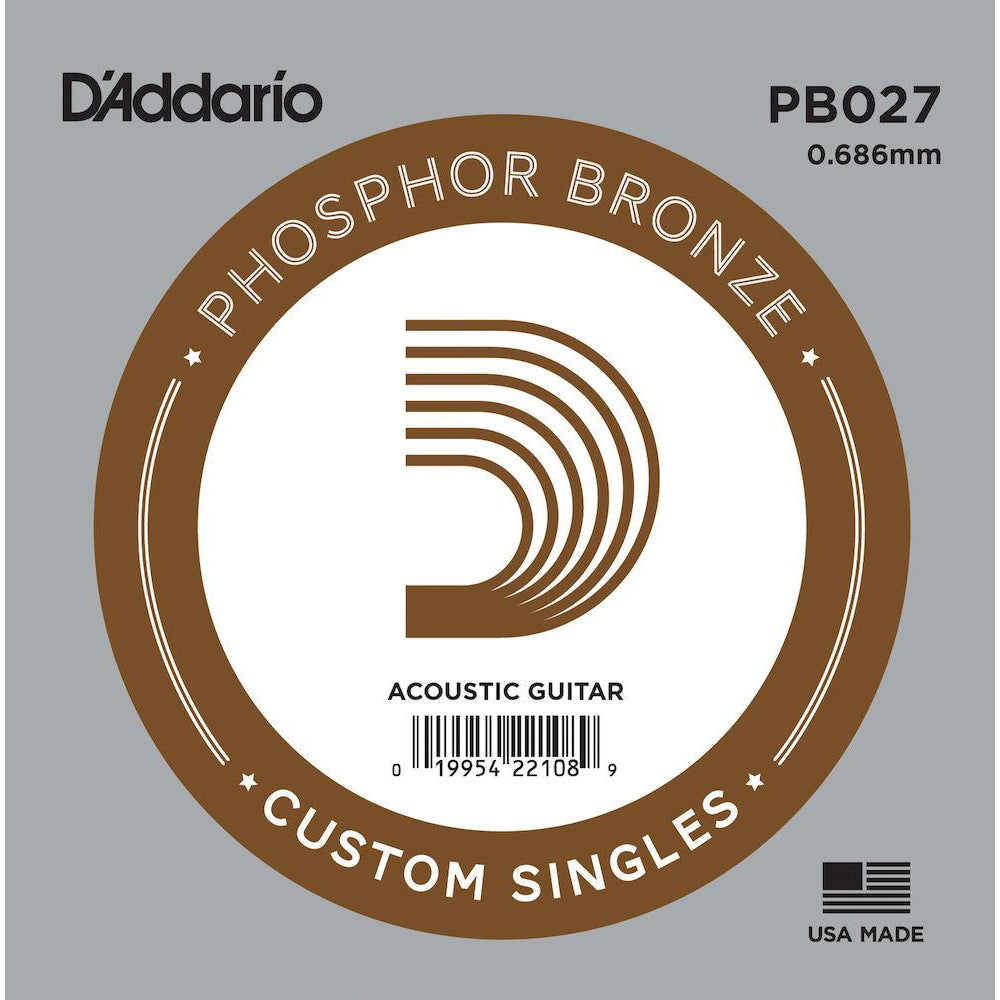D'Addario PB027 Phosphor Bronze Wound Acoustic Guitar Single String, .027