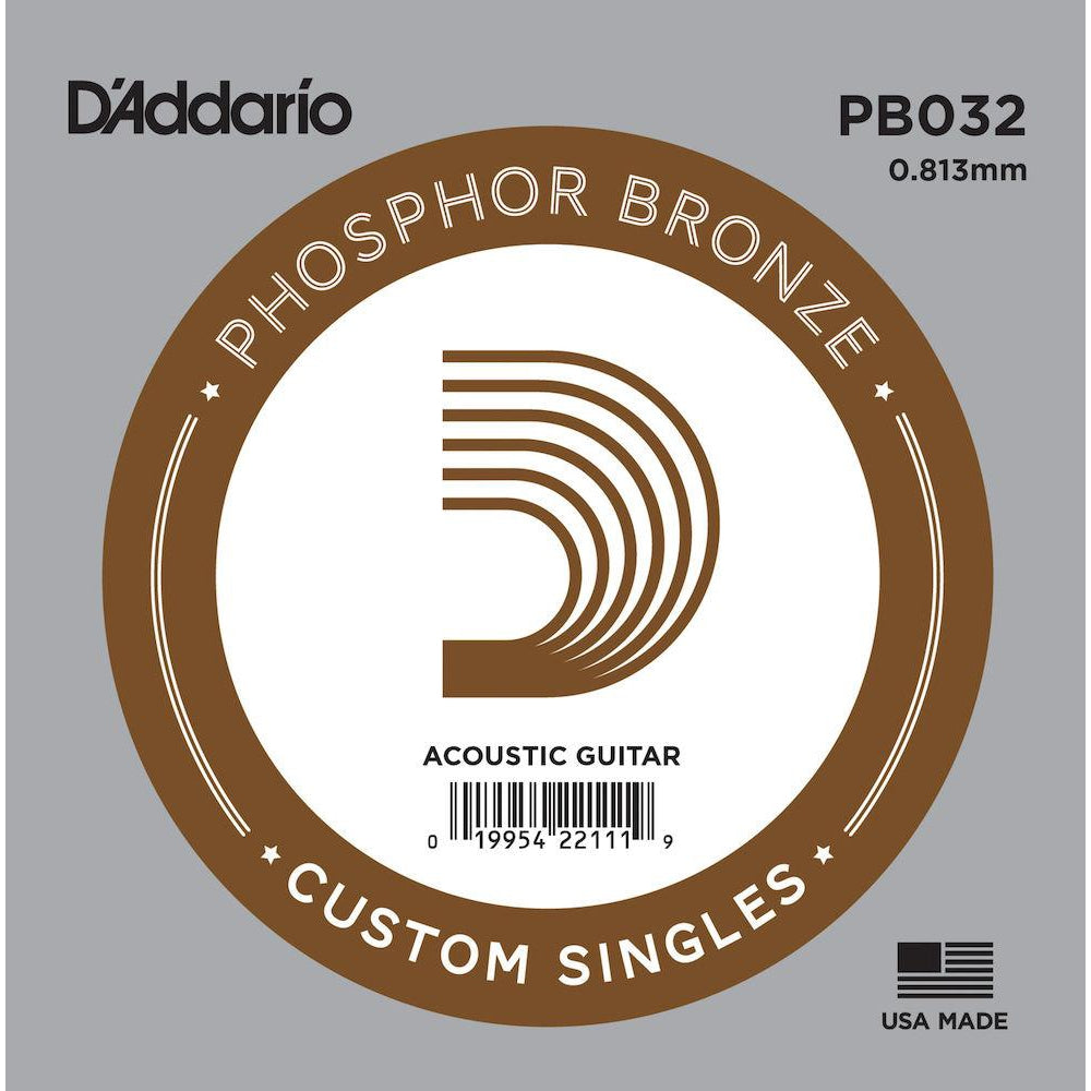 D'Addario PB032 Phosphor Bronze Wound Acoustic Guitar Single String, .032