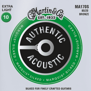 Martin MA170S Authentic Silked Extra Light 80/20 Guitar Strings