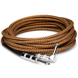 Hosa GTR-518R Tweed Guitar Cable Strait to Right-angle 18 ft