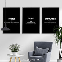 Load image into Gallery viewer, HUSTLE GRIND EXECUTION 3 Pcs Set Black Editions