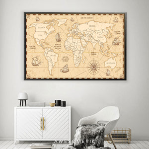 Compass Vintage World Map