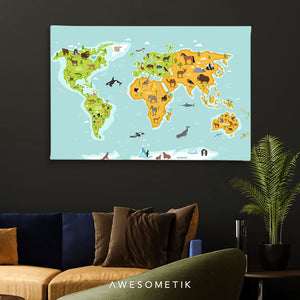 World Animal Kids Map