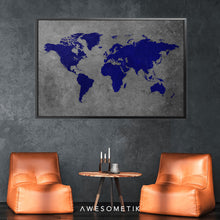 Load image into Gallery viewer, Navy Blue World Map