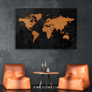 Vintage Rustic World Map