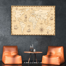 Load image into Gallery viewer, Compass Vintage World Map