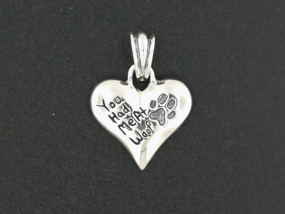 You had me at woof pendant in silver