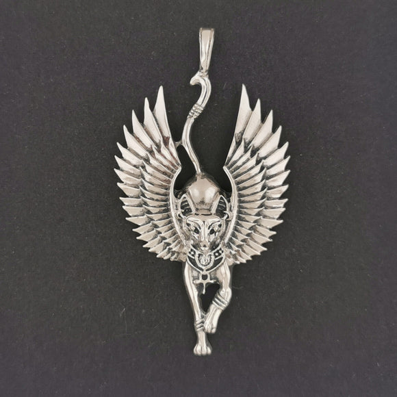 Winged Bastet Pendant in Sterling Silver or Antique Bronze