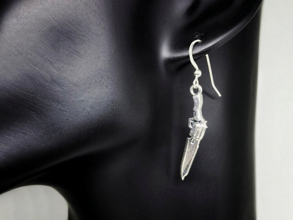 Final Fantasy 8 Gunblade Earrings in Sterling Silver or Antique Bronze