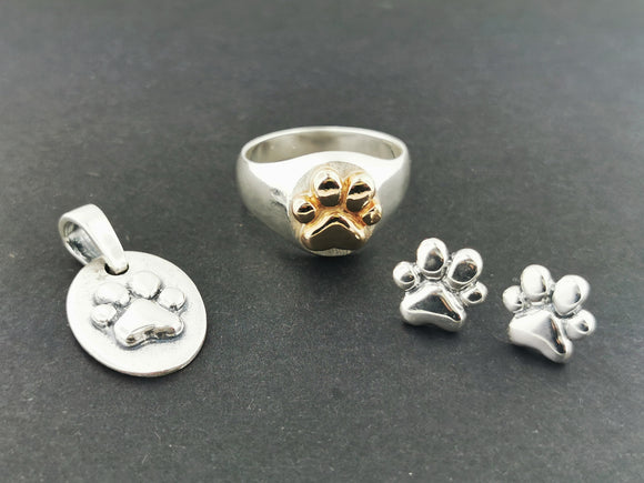 Paw Print Jewellery Set in Sterling Silver