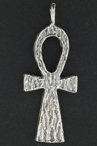 Large Textured Ankh Pendant in Sterling Silver or Antique Bronze