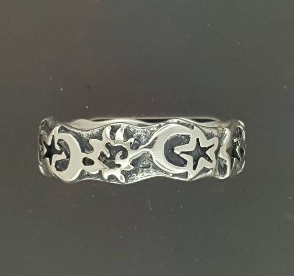 Sun, Moon, & Star Band in Sterling Silver or Antique Bronze