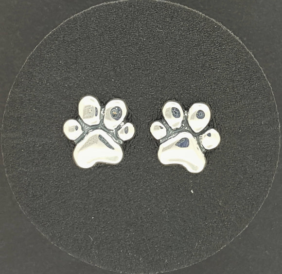 Paw Print Stud Earrings in Sterling Silver