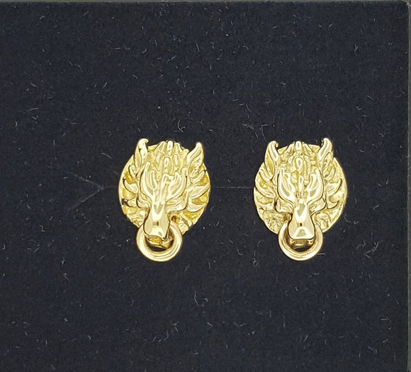 Gold FF7 Fenrir Wolf Stud Earrings Made to Order