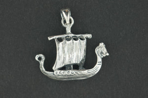 Viking Long Ship Pendant in Sterling Silver or Antique Bronze