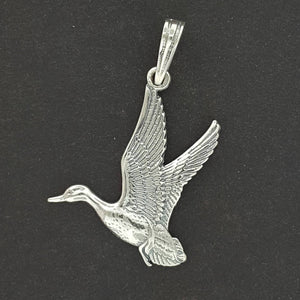 Flying Duck Pendant in Sterling Silver or Antique Bronze