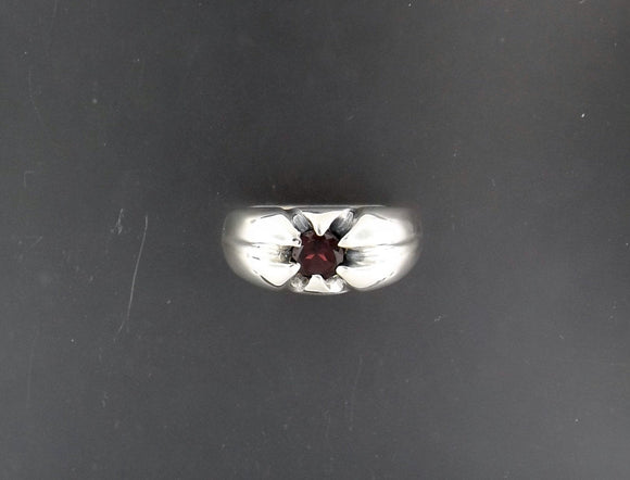 Mens Classic 6 Prong Gemstone Ring In Sterling Silver