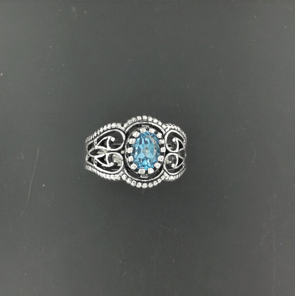 Vintage Style Filigree Birthstone Ring in Sterling Silver