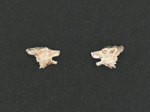 Gold Howling Wolves Stud Earrings made to order