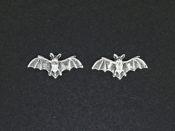 Bat Stud Earrings in Sterling Silver