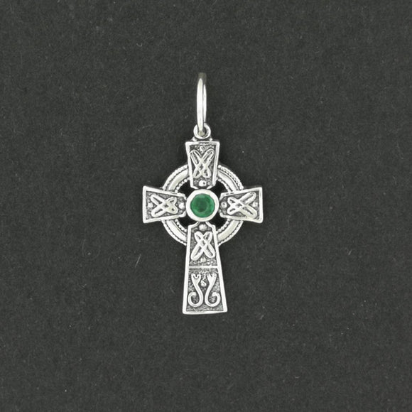 Small Celtic Cross with Gemstone in Sterling Silver