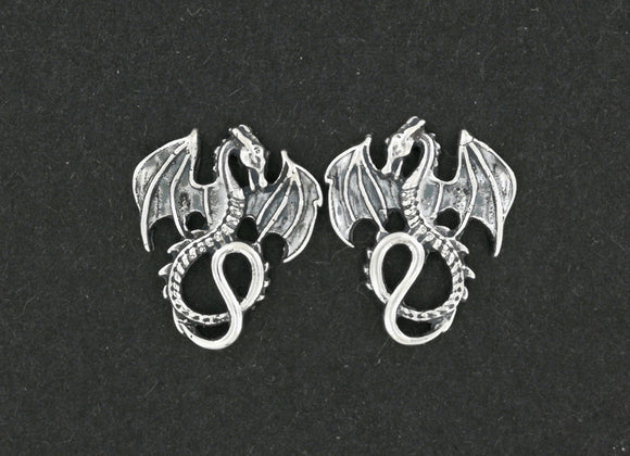 Winged Dragon Stud Earrings in Sterling Silver
