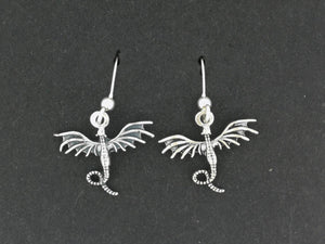 Flying Dragon Dangle Earrings in Sterling Silver or Bronze