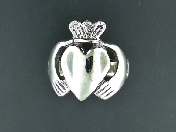 Mens Large Claddagh Ring in Sterling Silver or Antique Bronze