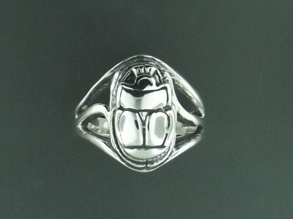 Egyptian Scarab Ring in Sterling Silver or Antique Bronze