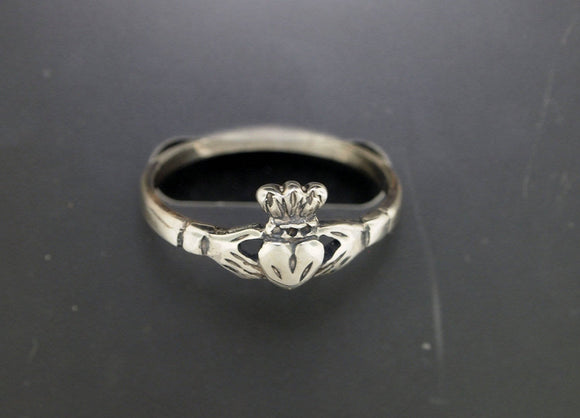 Small Claddagh Ring in Sterling Silver or Antique Bronze