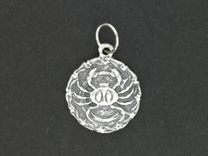Zodiac Medallion Cancer in Sterling Silver and Antique Bronze