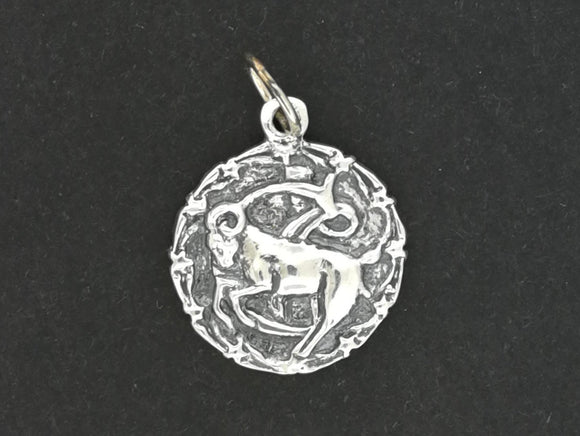 Zodiac Medallion Capricorn in Sterling Silver or Antique Bronze