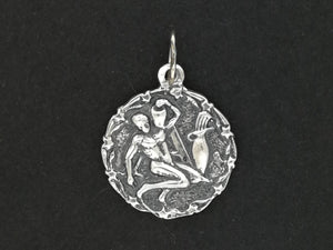 Zodiac Medallion Aquarius in Sterling Silver or Antique Bronze