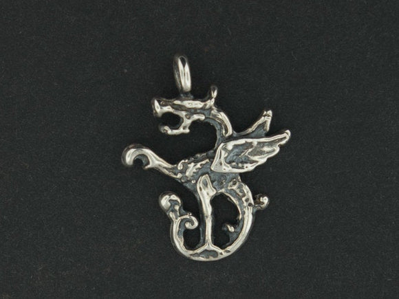 Small Dragon Charm in Sterling Silver or Antique Bronze