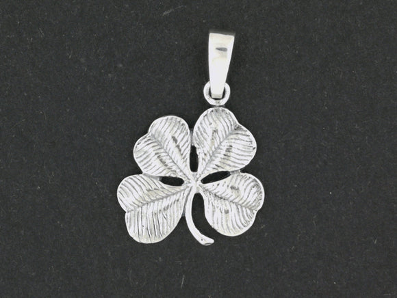 Large Four-Leaf Clover Pendant in Sterling Silver or Antique Bronze