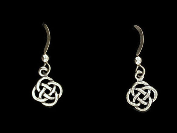 Small Endless Knotwork Dangle Earrings in Sterling Silver or Antique Bronze