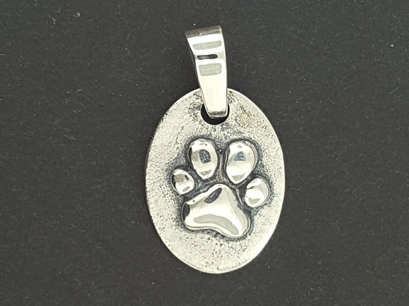 Paw Print Medallion in Sterling Silver or Antique Bronze